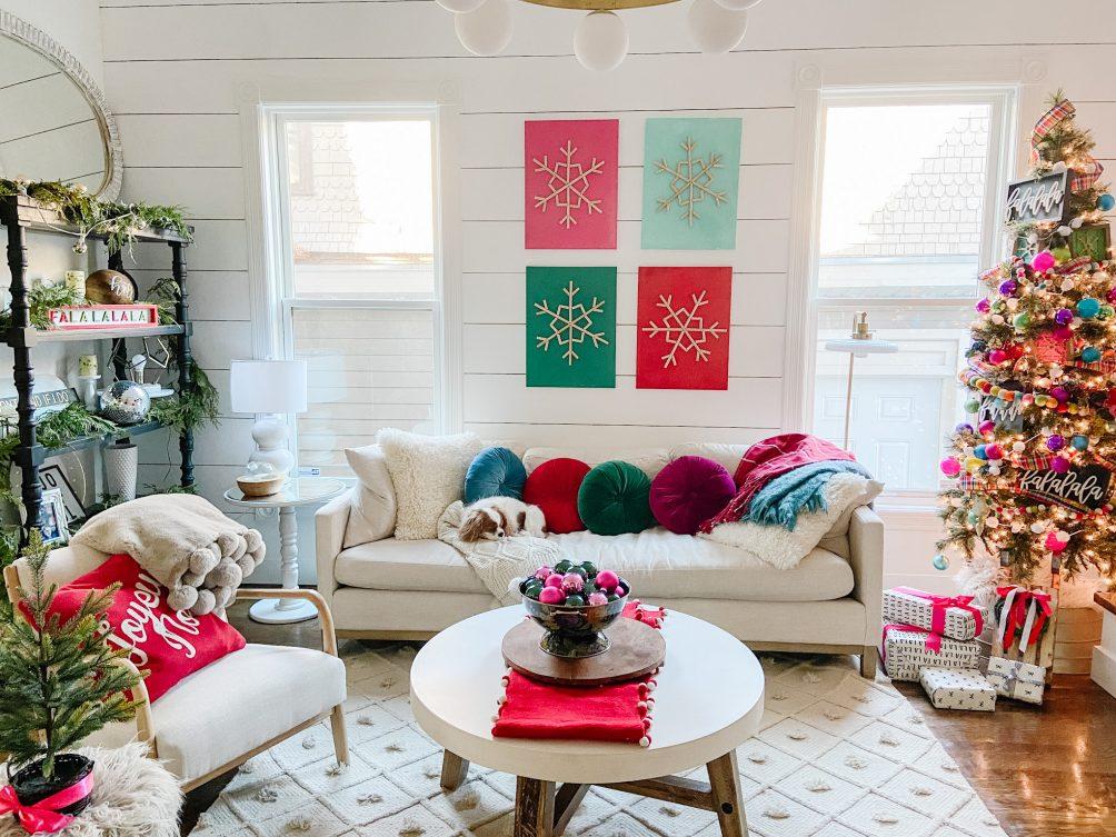 boho cottage bright holiday decorating