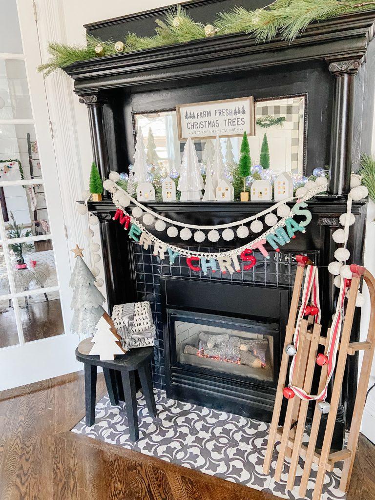 vintage fireplace holiday decor