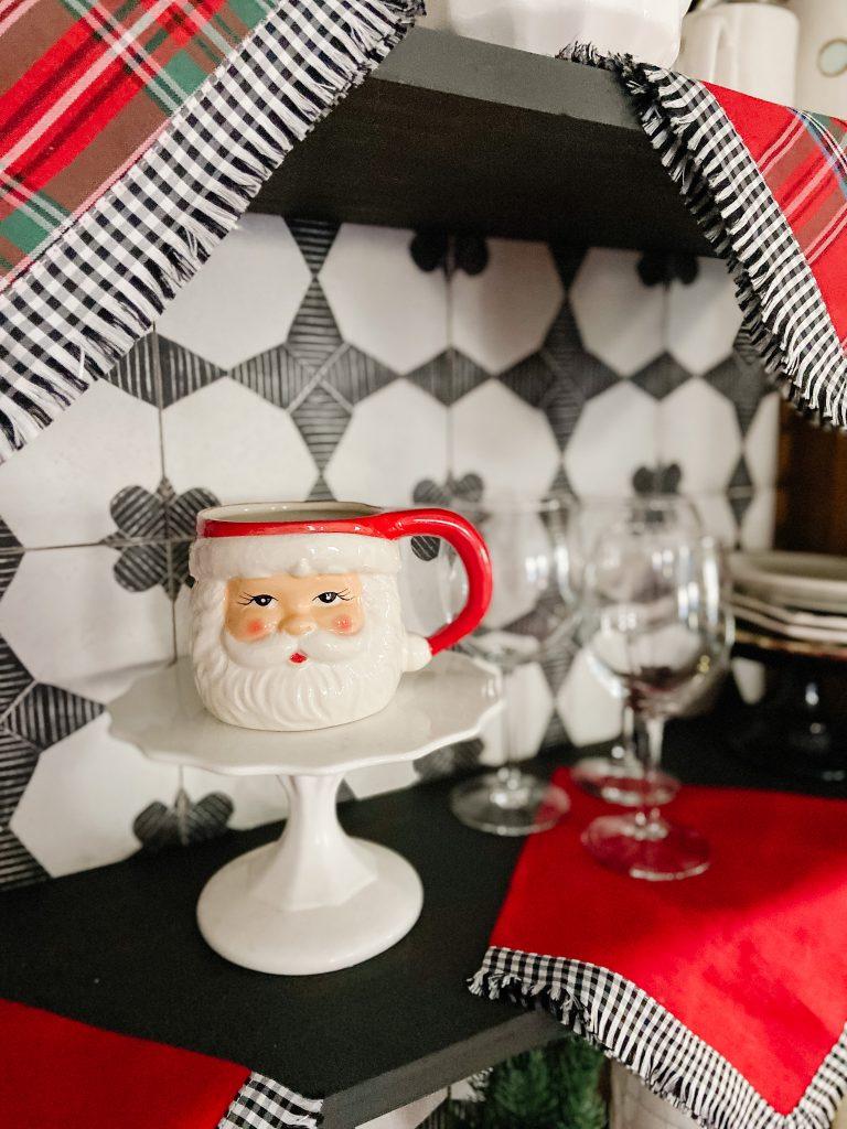 vintage cabinet tile holiday decorating