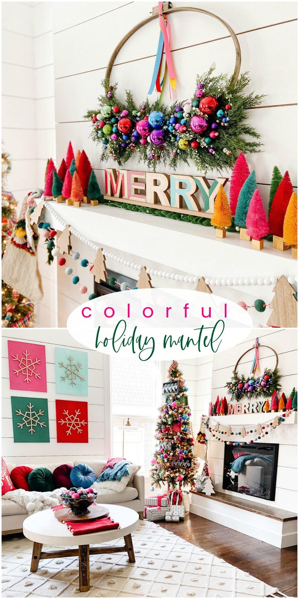 Bright Colorful Merry Mantel Christmas Decor Ideas