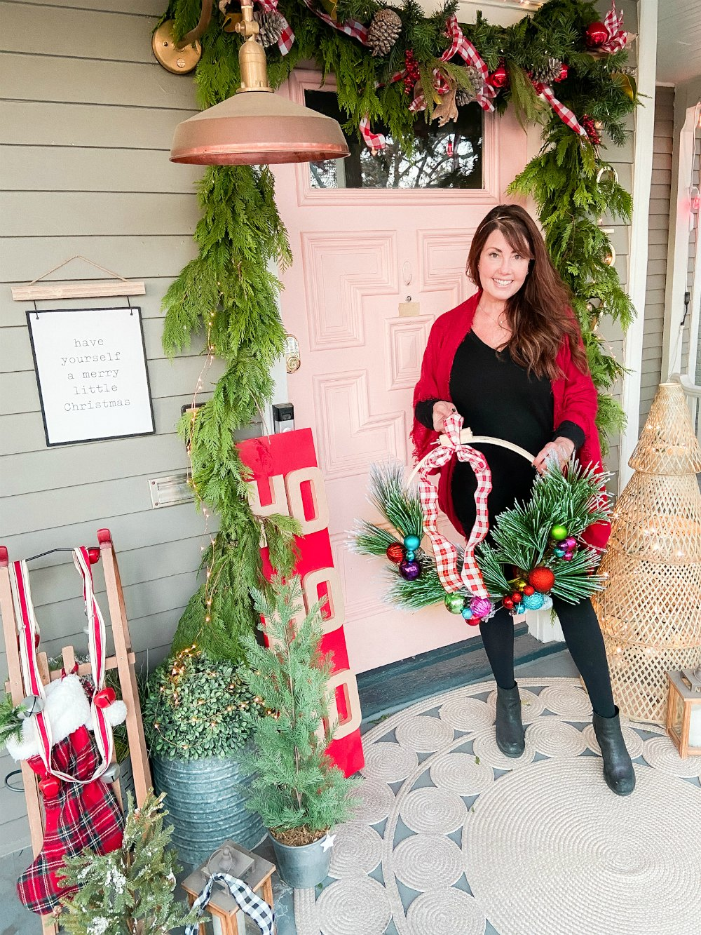 Cottage Holiday Home Tour -- Front Porch and Entryway Decorating. Easy ways to bring color to your cottage or farmhouse home for the holidays!