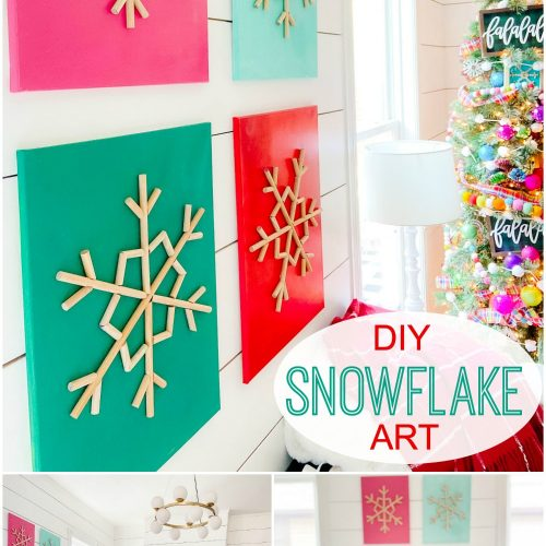 DIY Snowflake art on canvas