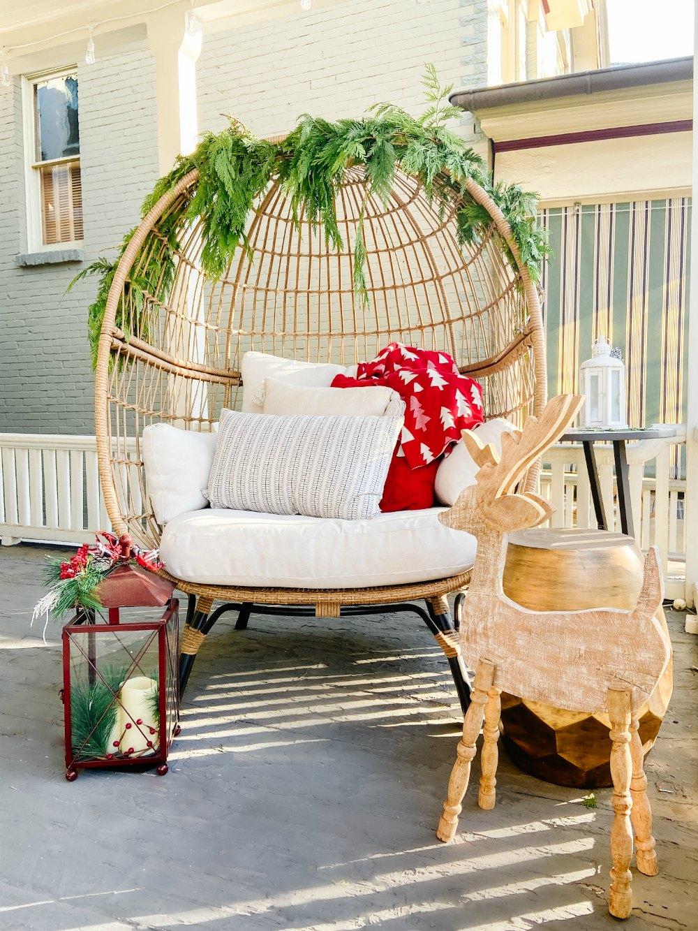 Egg Cjair Christmas Porch