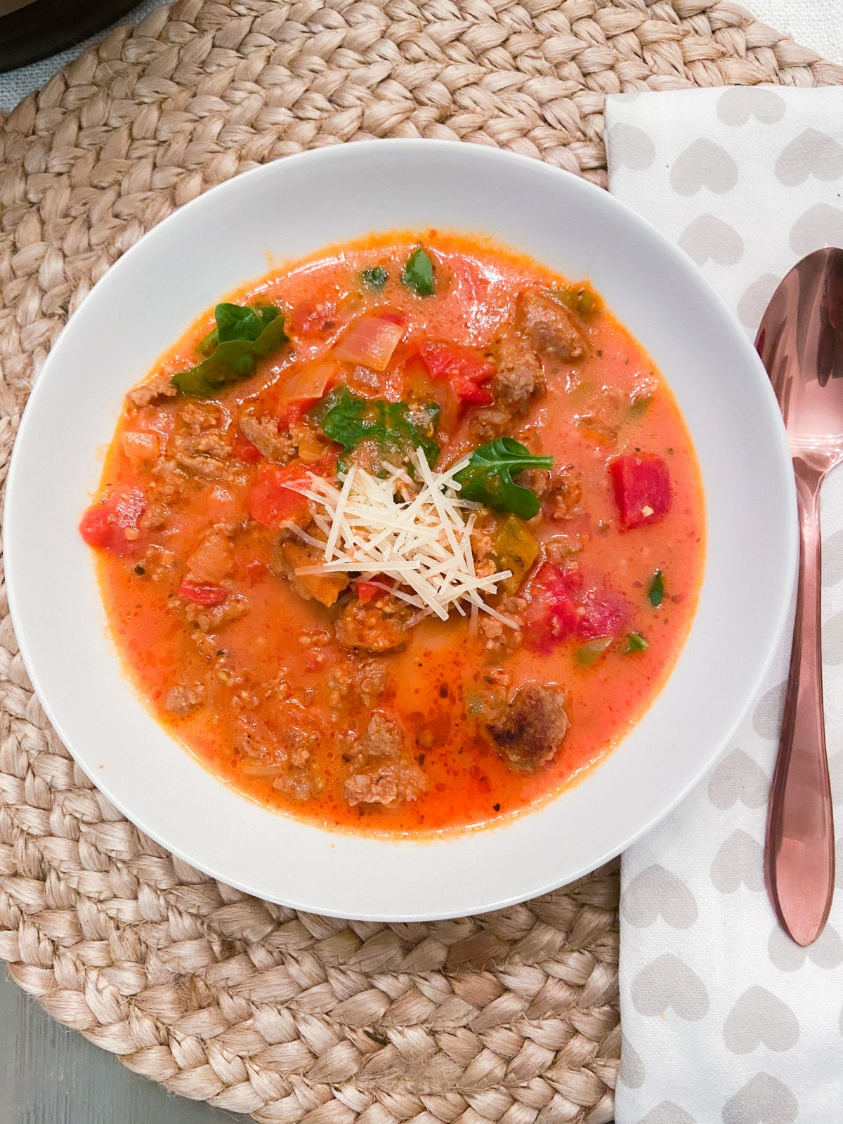 Keto Instant Pot Spicy Italian Soup. Spicy Italian sausage, herbs and veggies in a thick creamy sauce is the perfect soup to make for Winter!