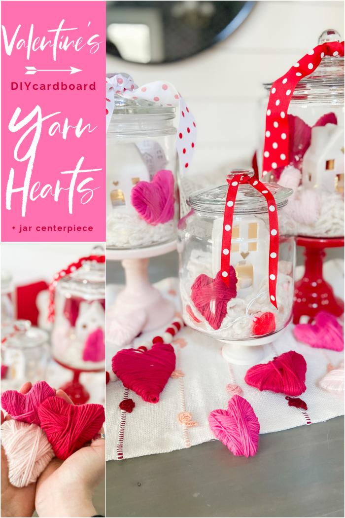 Valentine's Day Yarn-Wrap Cardboard Hearts + Centerpiece