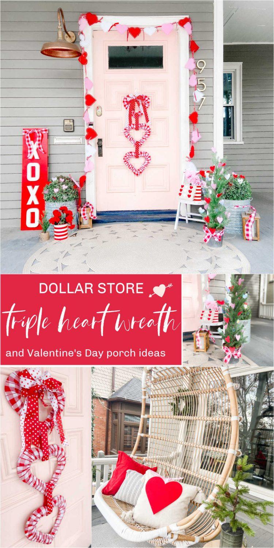 Dollar Store Triple Heart Wreath