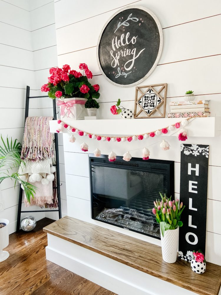 Spint farmhouse cottage mantel with DIY chalkboard