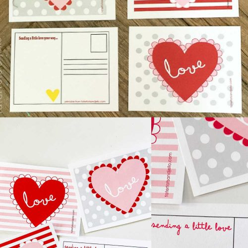 Free Heart Valentine's Day Postcards Printables