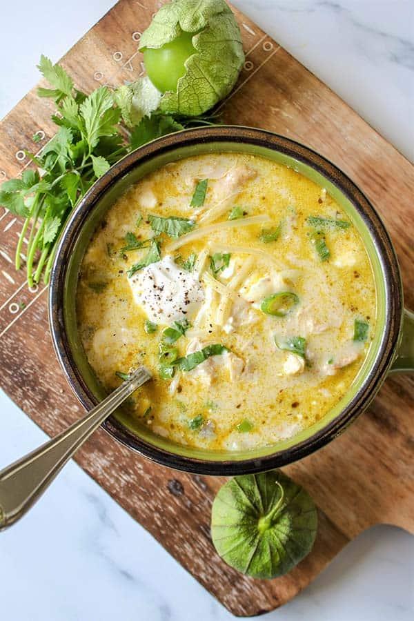 Green Enchilada Chicken Soup Keto Low-Carb Soup at Seeking Good Eats.