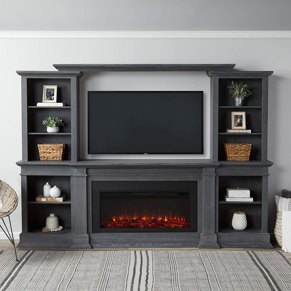 Grey media cabinet with electric fireplace that can heat up to 1000 feet