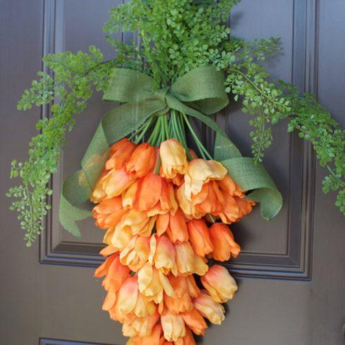 orange tulip carrot door hanging