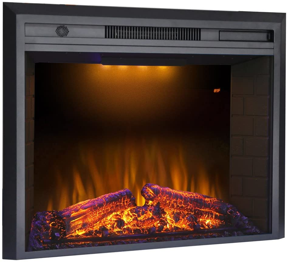 This is the electric fireplace insert we used in our 1891 avenue home planked fireplace we buil.
