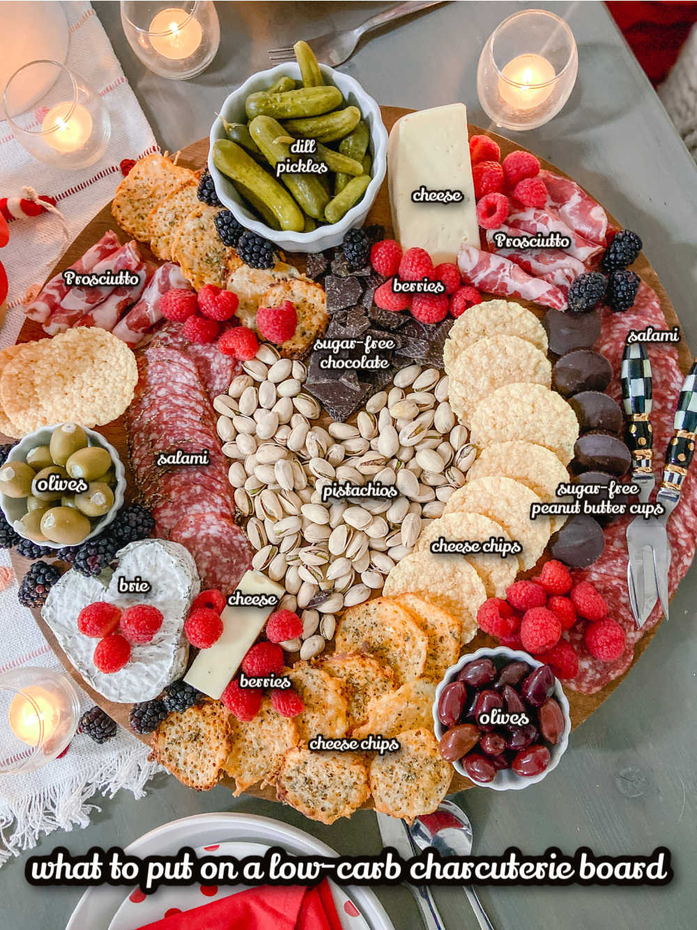 The easiest low-carb keto Charcuterie board. Enjoy low-carb snacks for Valentine's Day with these delicious nibbles that are also keto-friendly!