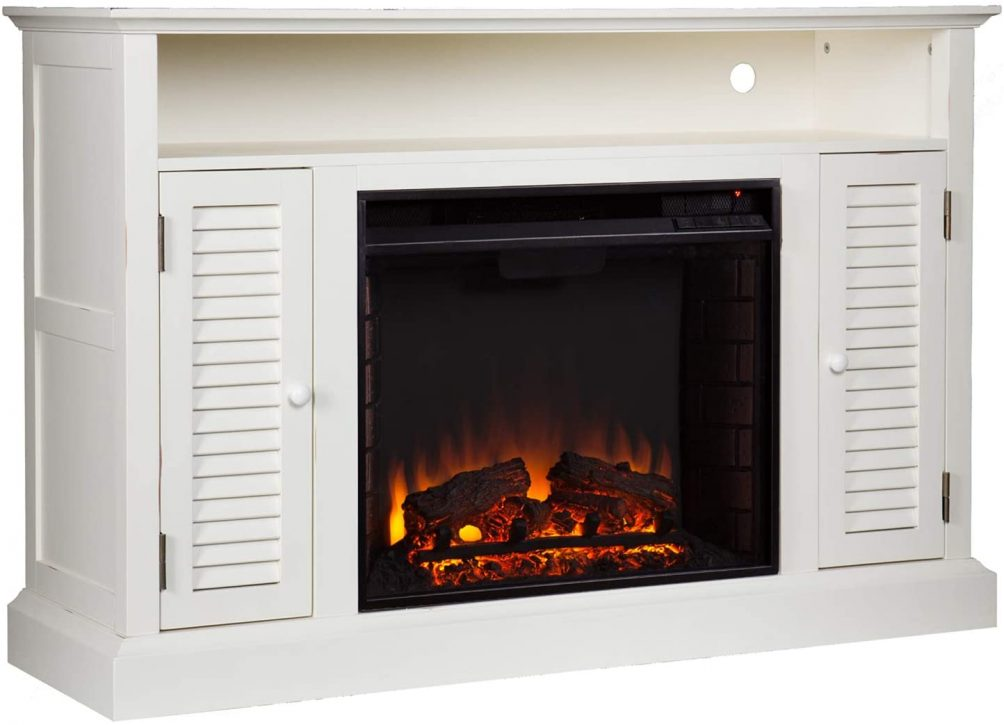 White shutter electric fireplace with timer