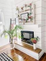 DIY Spring Pallet Flower Mantel