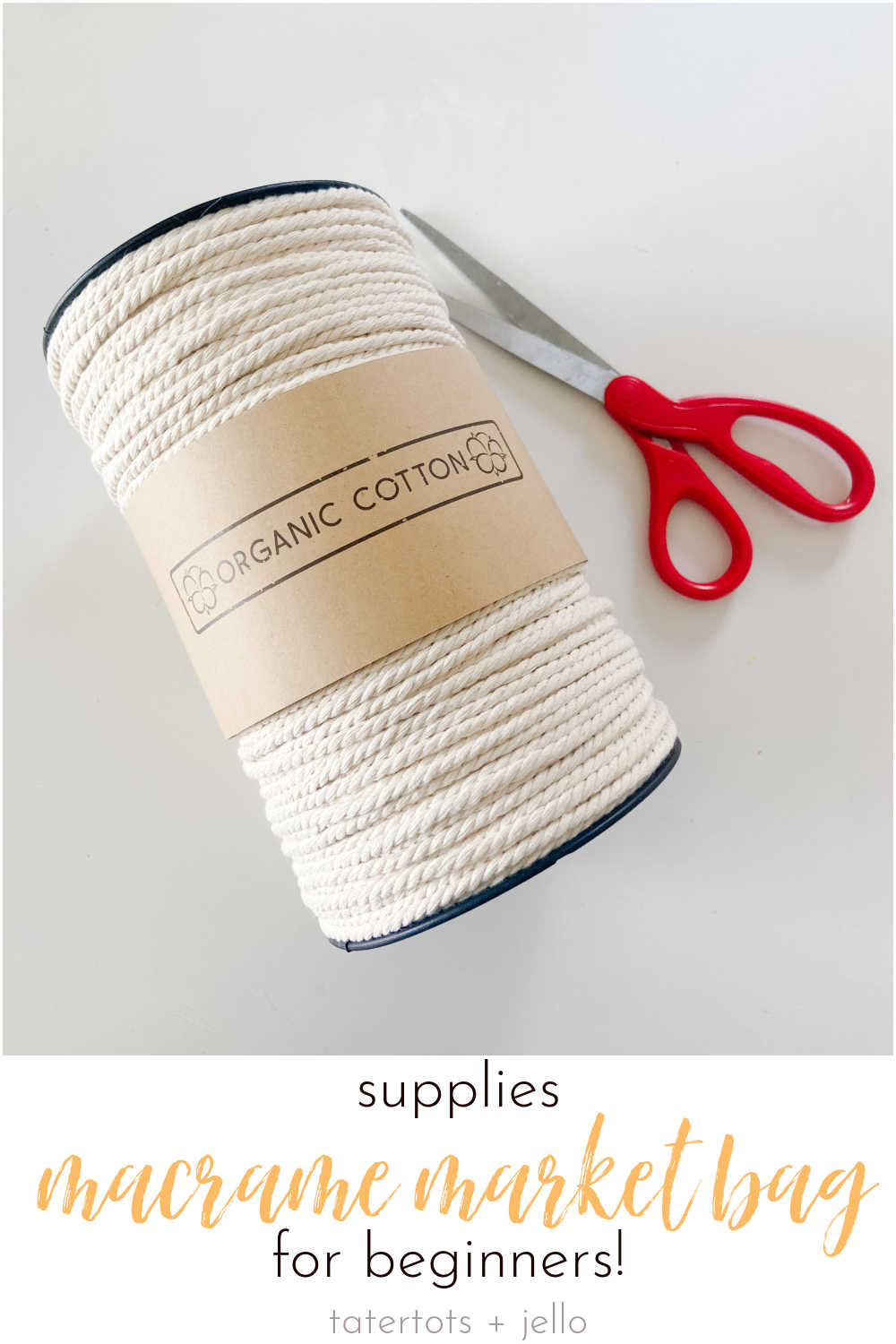 Make a Macrame Market Bag for Beginners! One of the best parts of spring and summer is fresh produce at the farmer's market. Make an easy macrame market bag with this easy DIY!