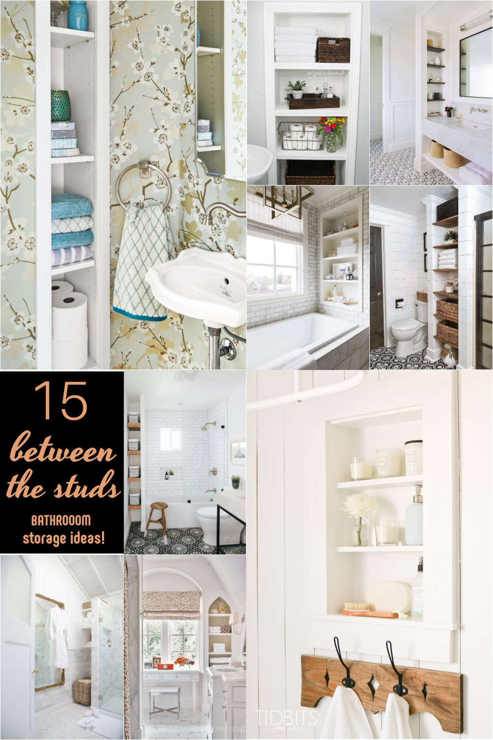 15 Between the Studs Bathroom Storage Ideas! Carve out space between the wall studs to increase storage space in a small bathroom.
