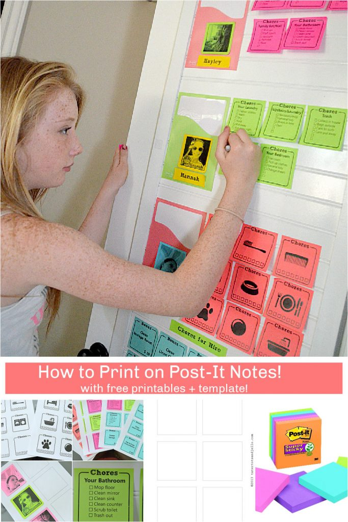 How to Print on Post-It Notes. Create labels or a family chore chart with these tips and free template to print on Post-It Notes!