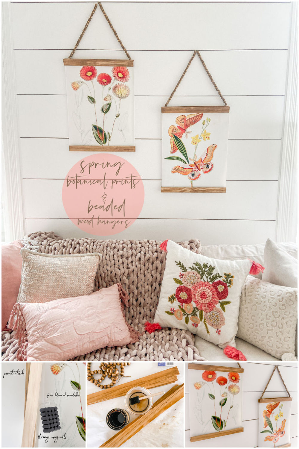 Spring Botanical Prints with Beaded Hangers. Bring a little spring color into your home with these vintage botanical prints and make beaded hangers for less than $5!