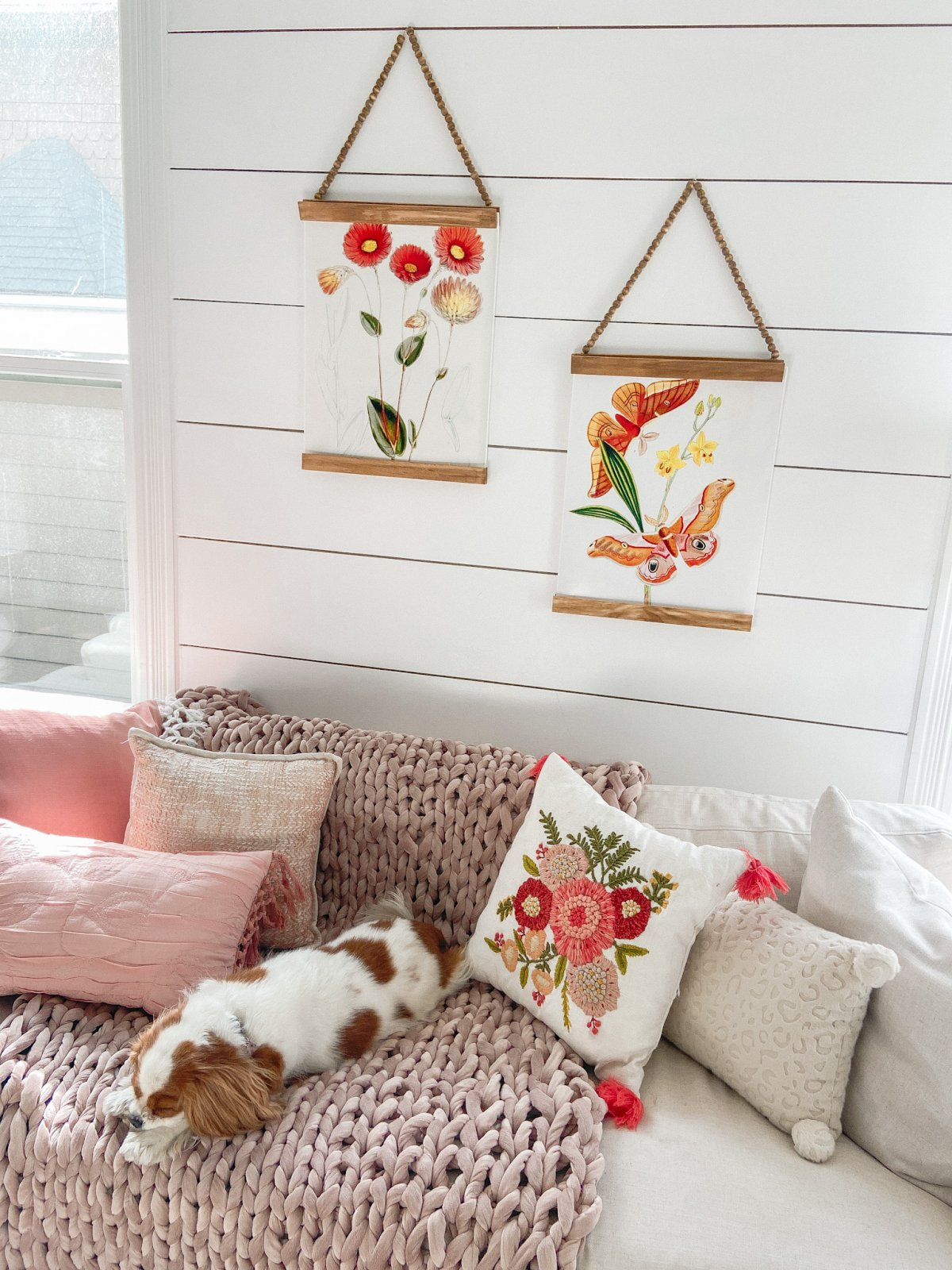 Spring Botanical Prints with DIY Beaded Hangers. Bring a little spring color into your home and make beaded hangers for less than $5!
