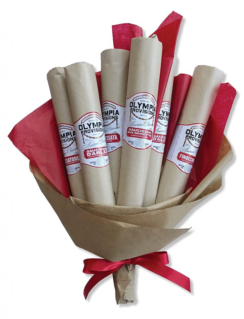 6 TYPES of salamis in a gift bouquet - Cacciatore, Chorizo Rioja, Loukanika, Saucisson Sec, Salami Nola, Saucisson D'Alsace.