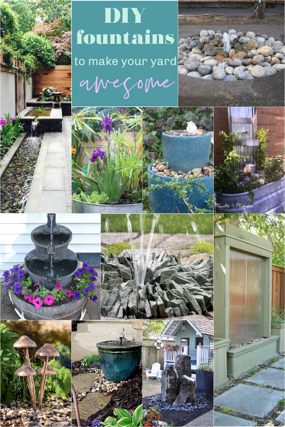 DIY Fountains to Make Your Yard Amazing! Bring your summer yard up a level by bringing the soothing sound of running water to your patio!