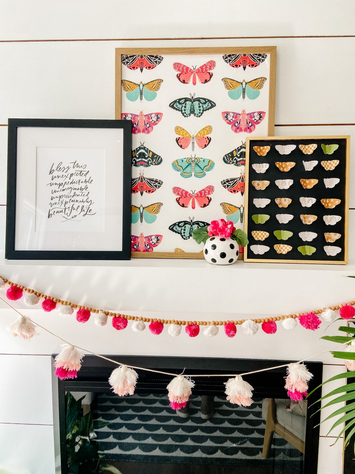 Butterfly Paper Specimen Art and Mantel. Use scrapbook paper and a butterfly die cut to create a three-dimensional and whimsical specimen art for a summer mantel!