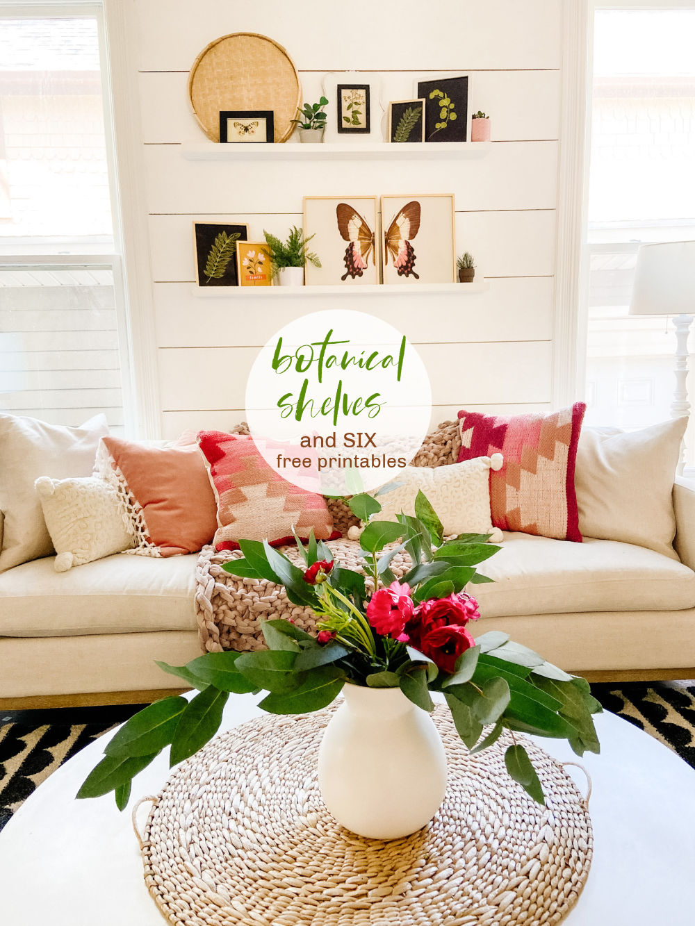 Botanical Art Focal Shelves with 6 Free Printables. Celebrate Summer by creating a botanical focal wall with these 6 free printables!