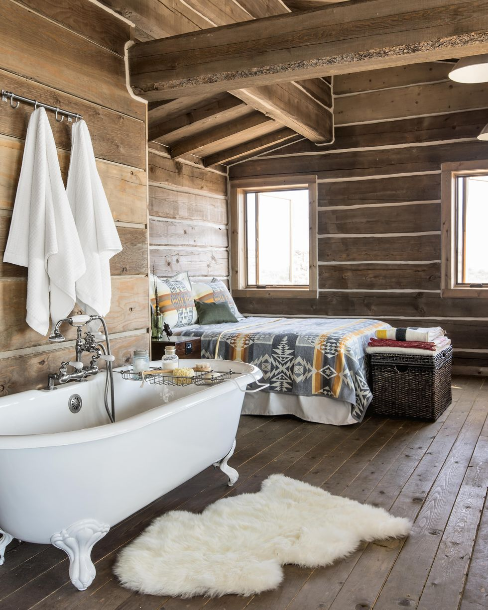 Tub in a bedroom shows you can put a clawfoot tub in the adjoining room to your bathroom if you don't have room in the bathroom.