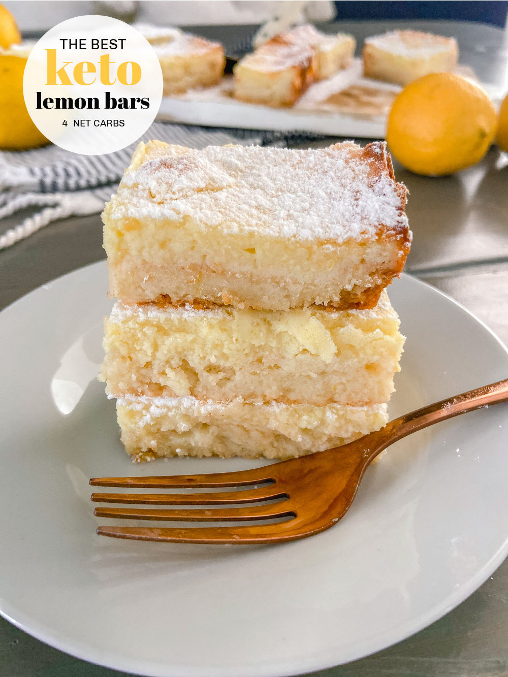Keto Lemon Bars. These tangy lemon bars are the perfect combination of buttery crust and creamy lemon filling with only 4 net carbs!