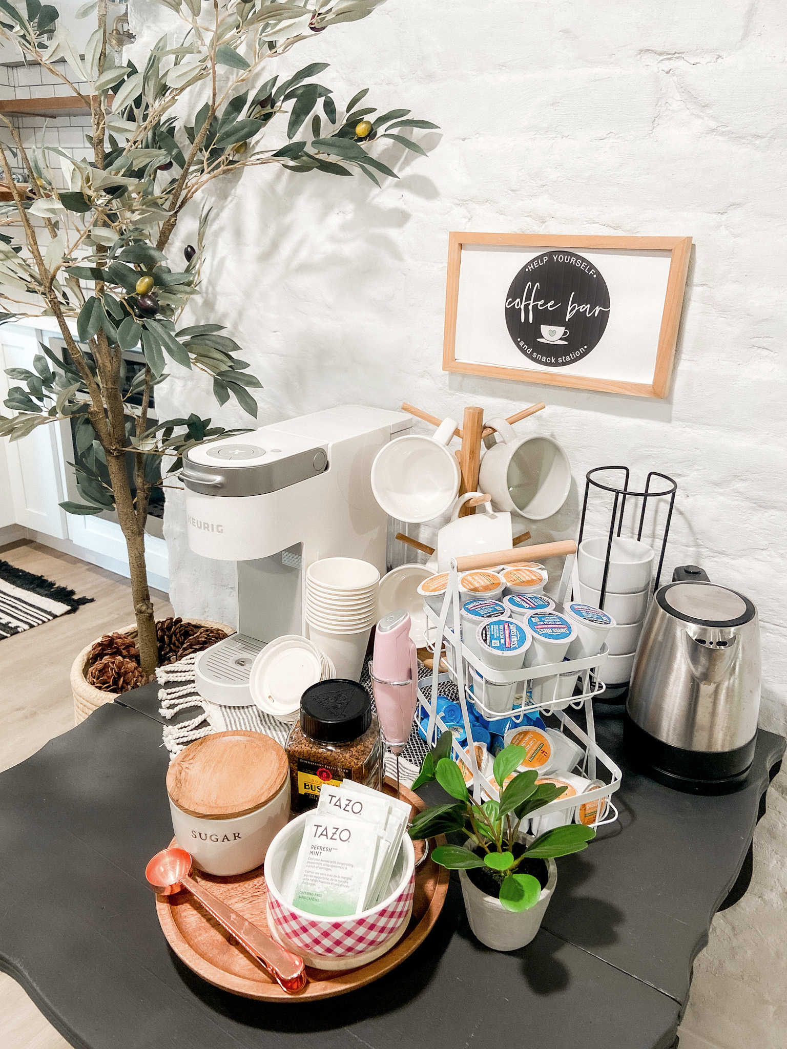 Coffee and Snack Bar Cart Upcycle. Create a beverage and snack station for guests by painting a vintage cart and giving it new life!