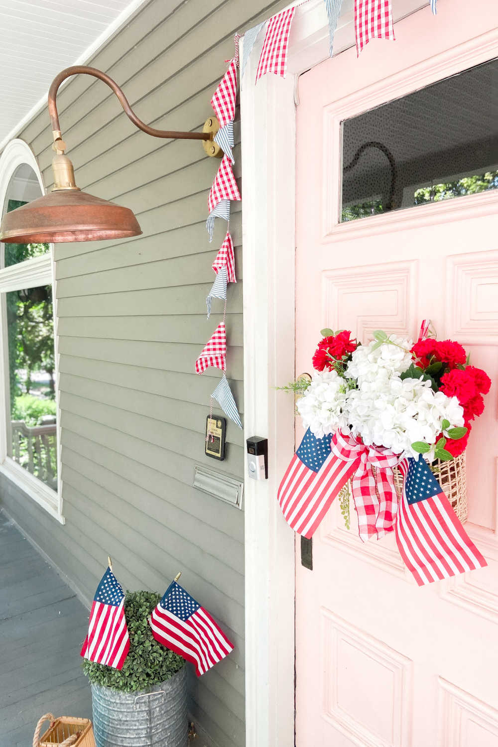 10-Minute Patriotic Basket Wreath. Make an easy and festive fourth of july wreath in just minutes!
