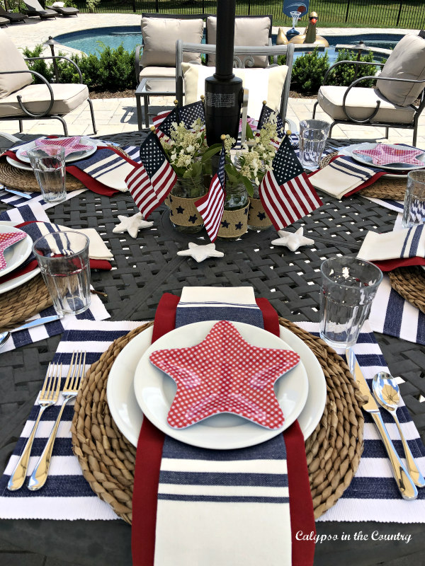Red whtie and blue table with star dishes