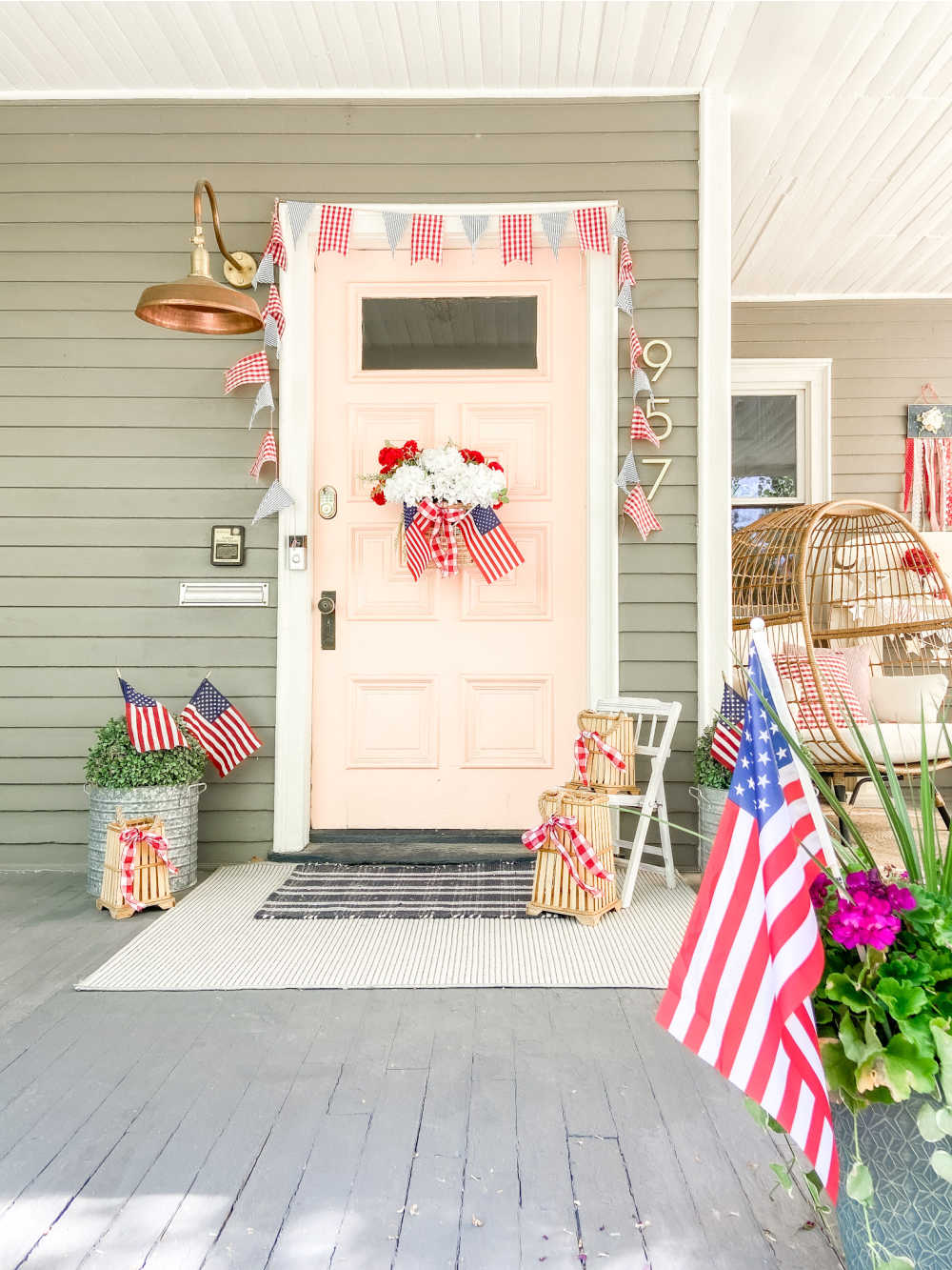 Easy Way to Add Charm to Your Outdoor Spaces. Here are FIVE easy ways to add some red white and blue summer charm to your porch or patio!