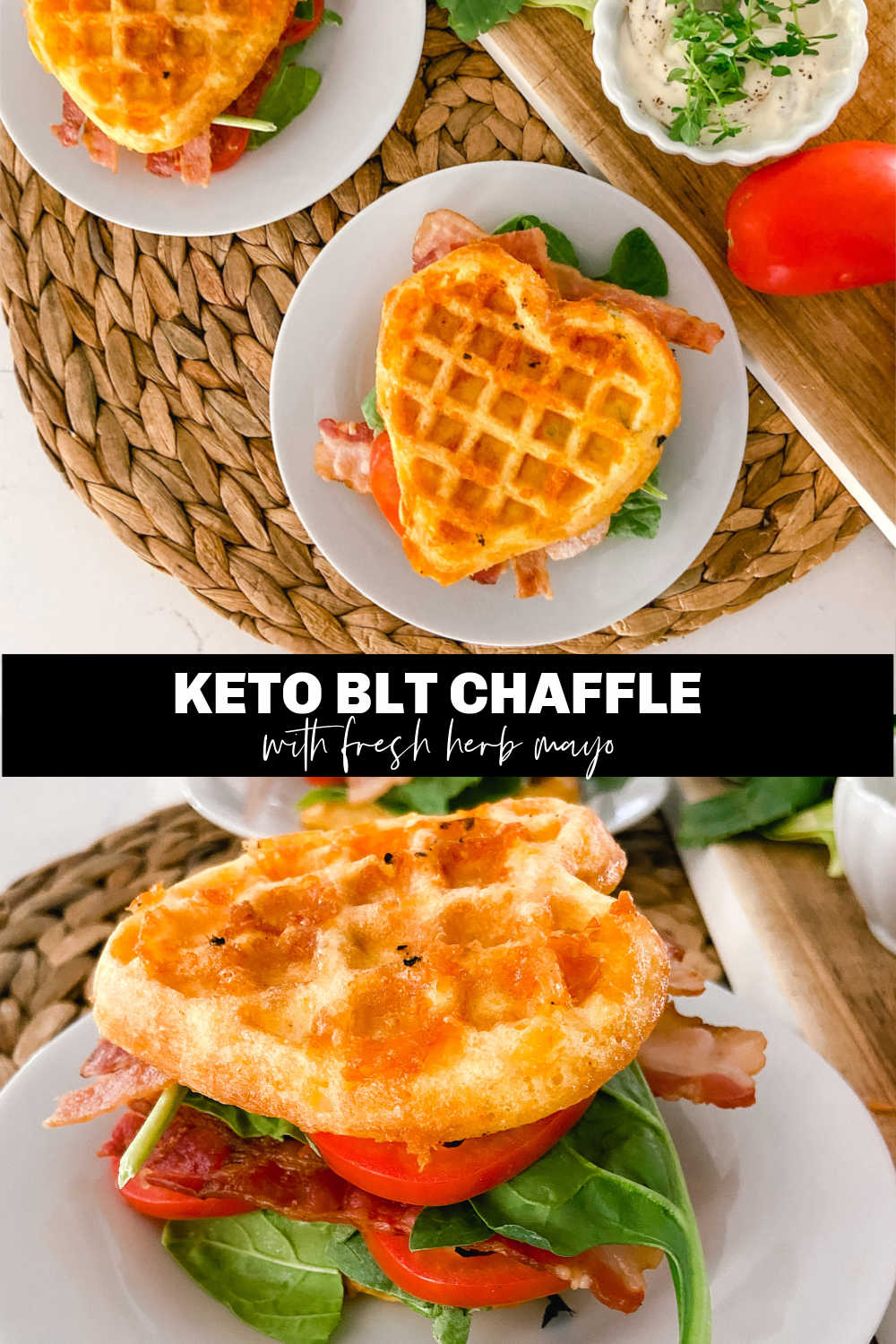Chaffle BLT Sandwiches with Herb Mayo. Nothing's better in the summer than a fresh BLT. Stay on track with this low-carb, keto-friendly BLT!
