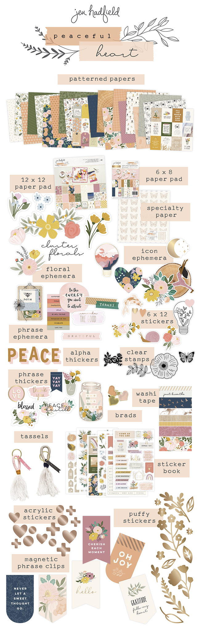 New Jen Hadfield Peaceful Heart Line! My new Pebbles paper and embellishment line with a cozy boho feel is available now!