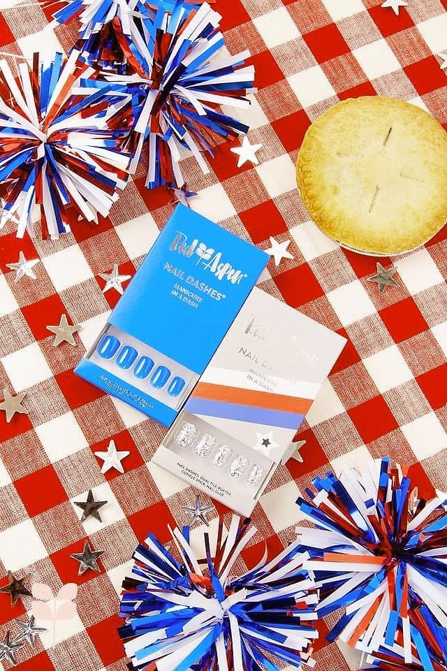 red white and blue nail dashes are easy to apply and so cute for the 4th of july!