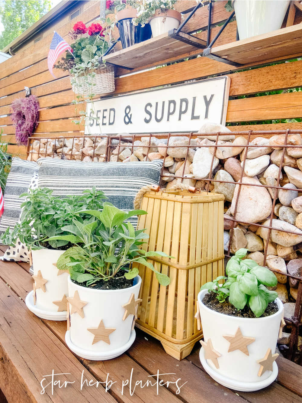 Terra Cotta Star Herb Planters. Create pretty farmhouse planters with natural wooden stars for your home or yard!