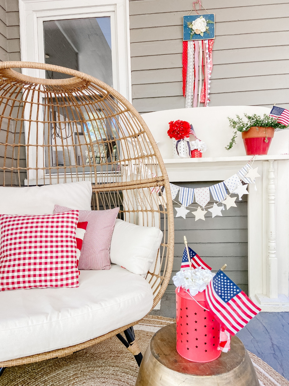 Patriotic Egg Chair on Porch