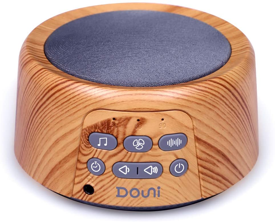 Wood grain white noise machine with 24 sounds.
