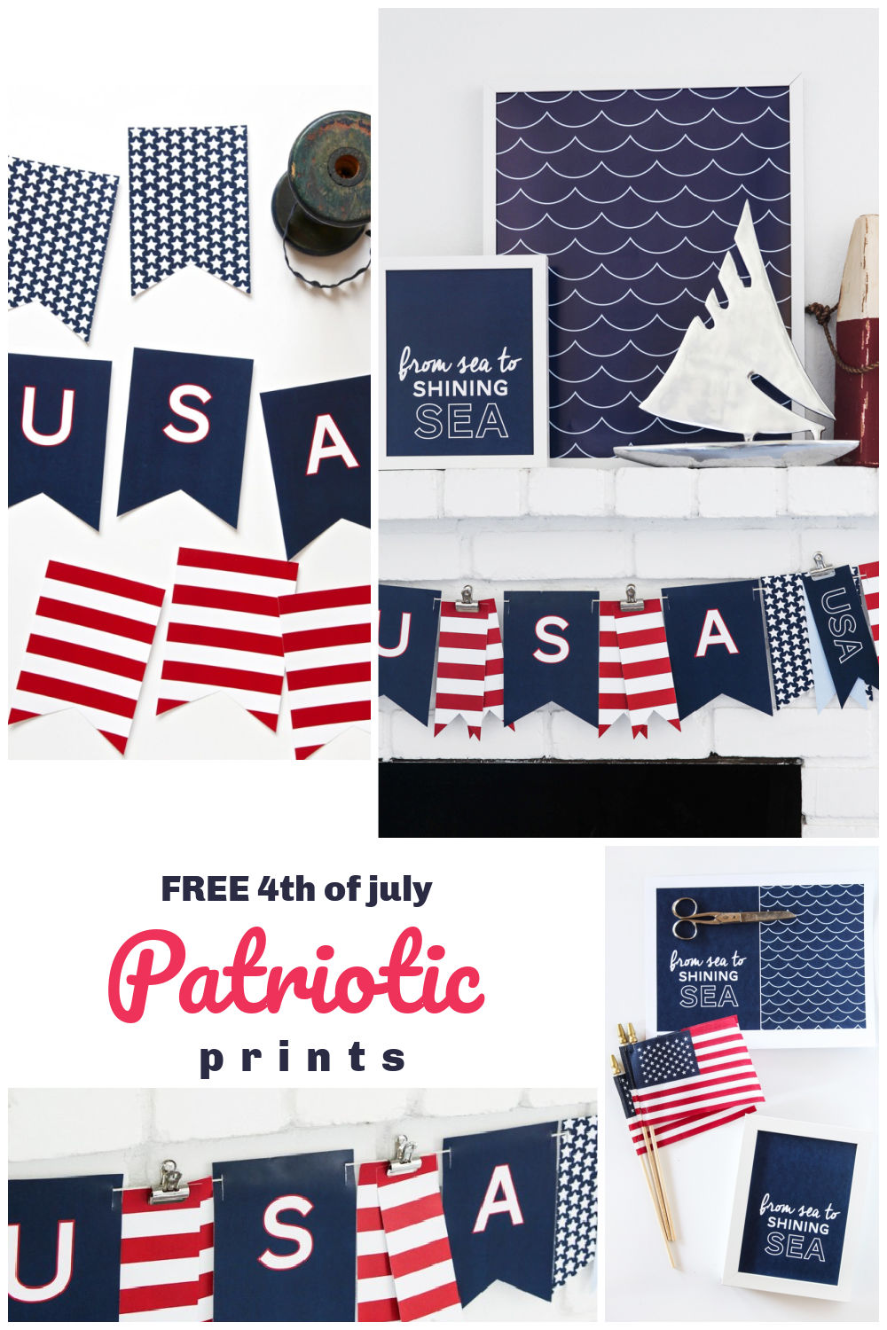 Free Patriotic 4th of July Nautical Prints. Need a last-minute idea? Print out these adorable patriotic banner for instant 4th of July decor!
