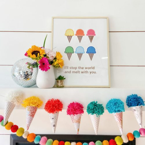 Free Ice Cream Party Printable and Yarn Cones