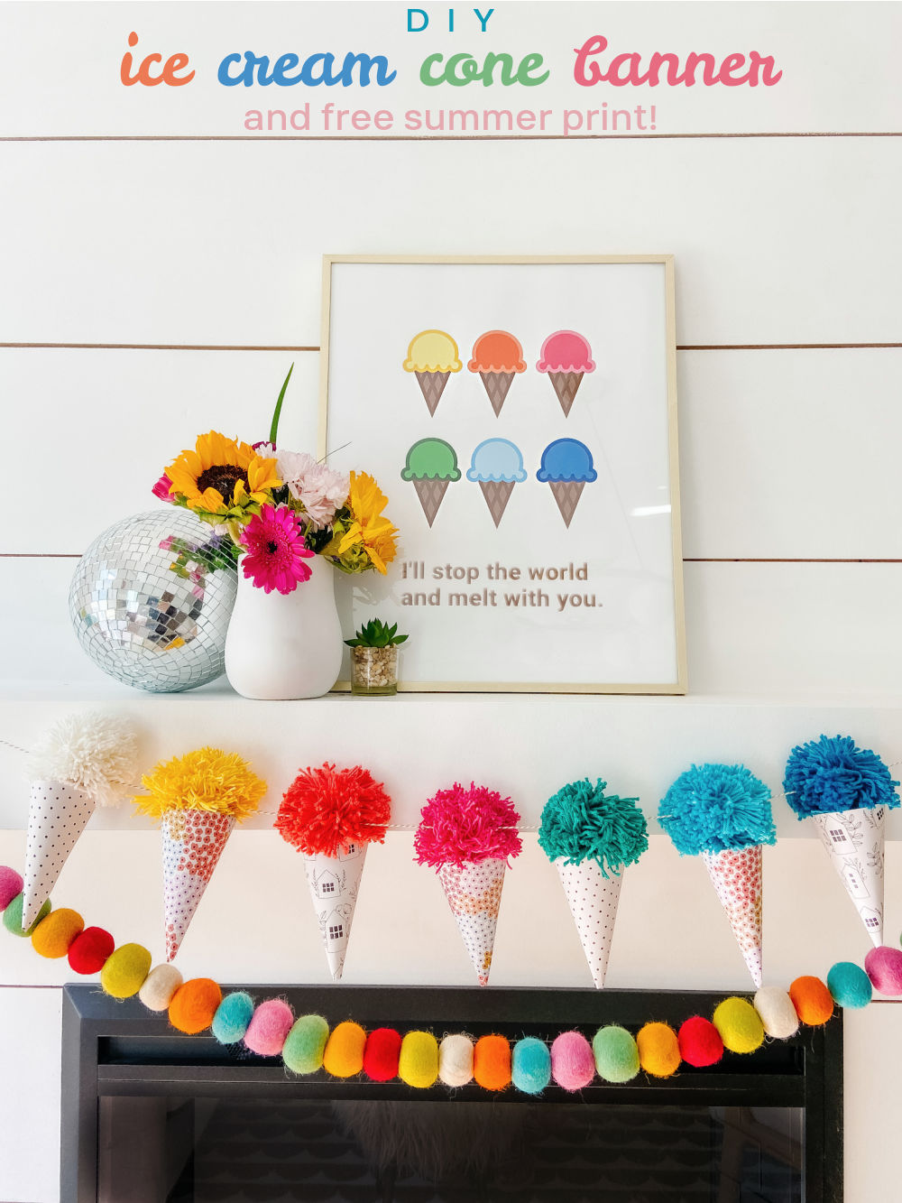 Ice Cream Cone Garland and Free Summer Printable. Celebrate Summer by creating an DIY Ice Cream Cone Banner with a matching printable for instant summer decor!