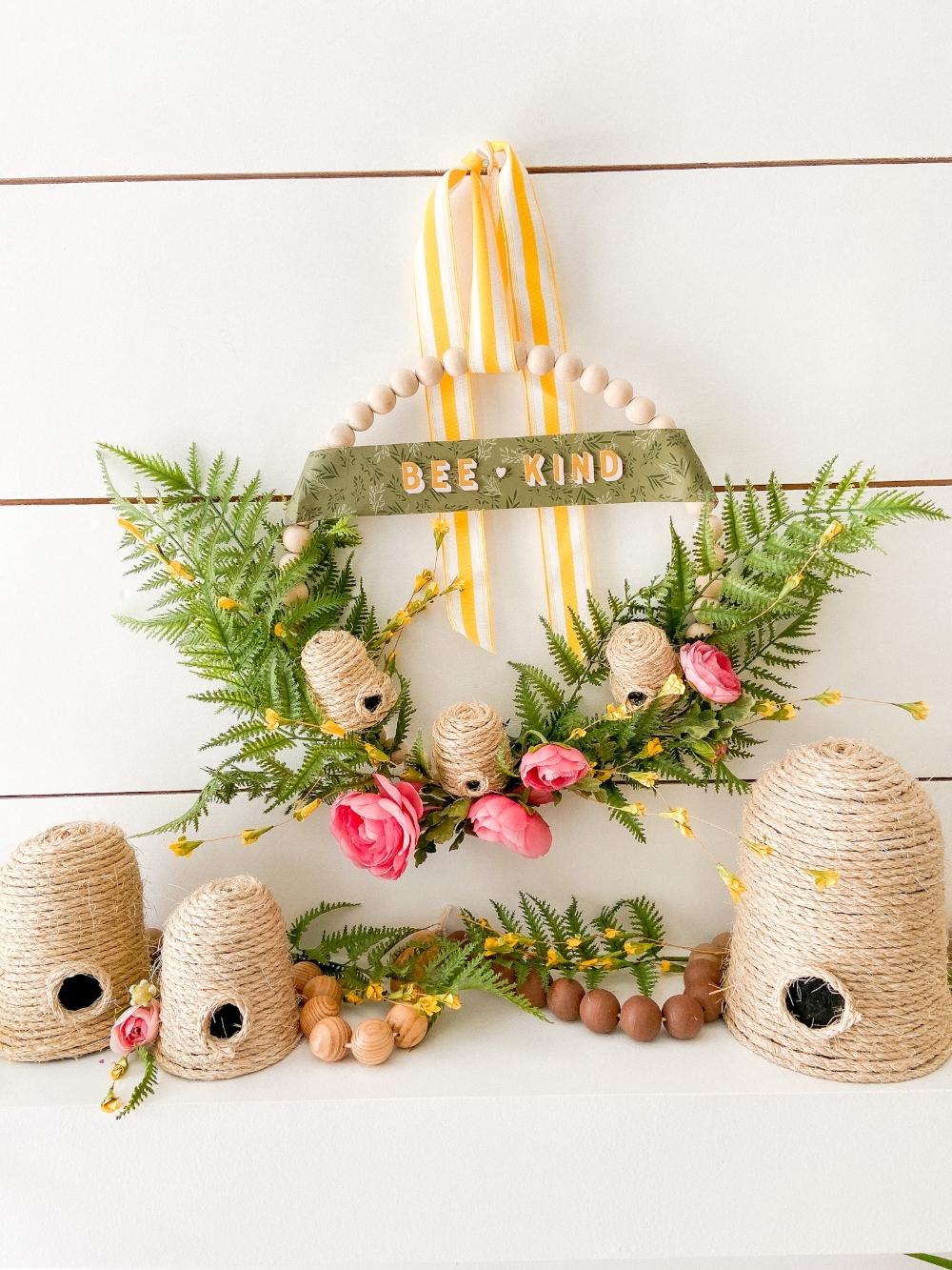 Bee Kind Summer Beaded Beehive Wreath. Celebrate summer by creating a beehive wreath with mini skeps and a Bee Kind Banner!