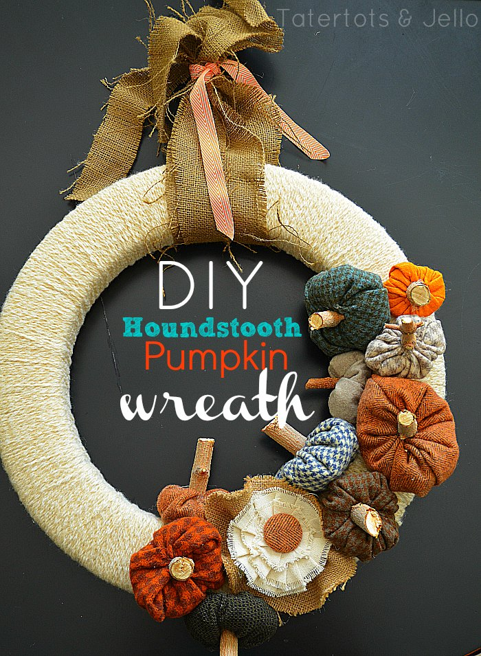 Houndstooth Pumpkin Wreath. Turn leftover fabric into a textured wreath for fall!