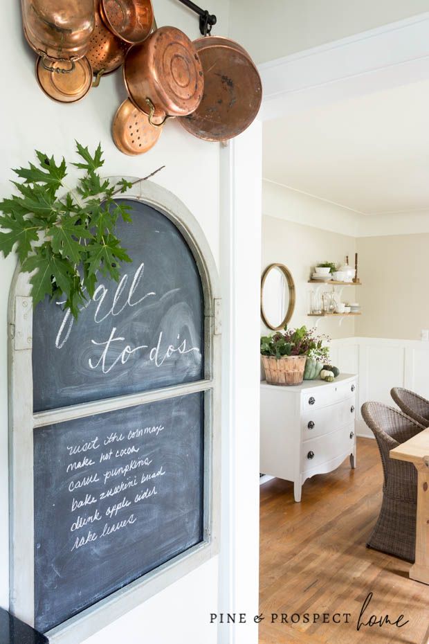 Fall Kitchen with Copper Accents at Pine and Prospect Home. Chalkboard with Fall To Do List.