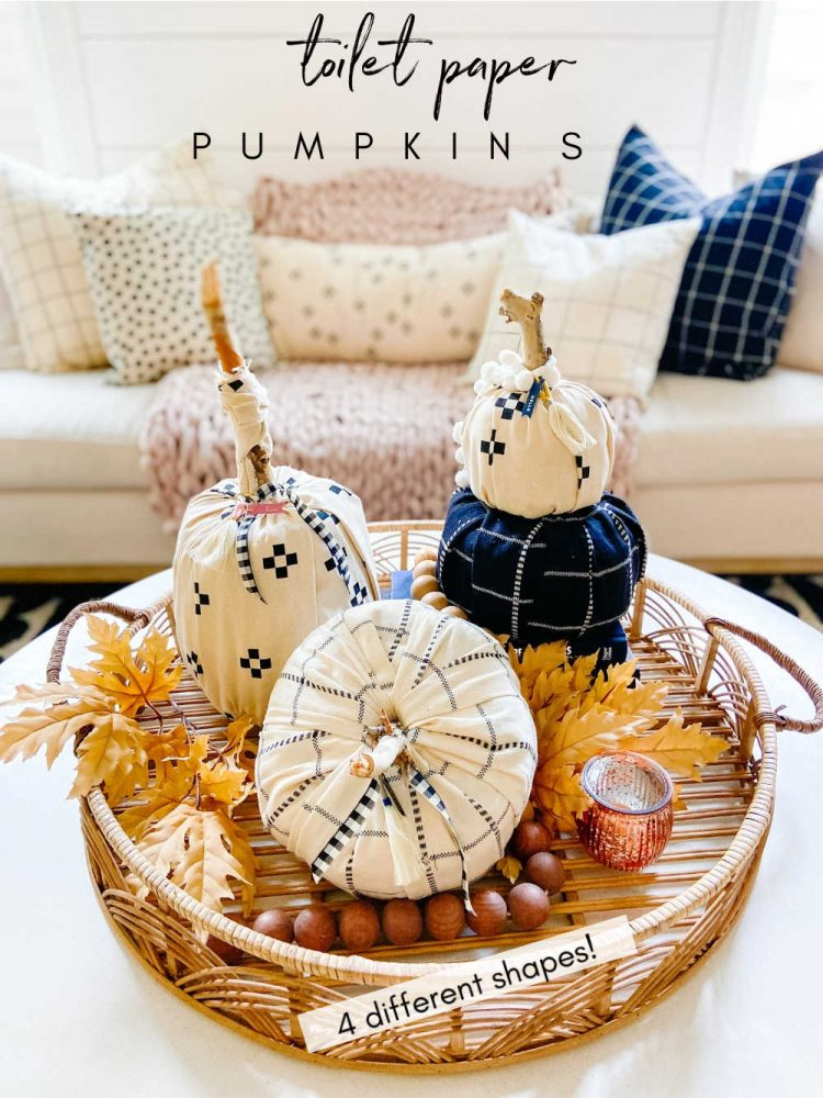 FOUR different fabric toilet paper roll pumpkins
