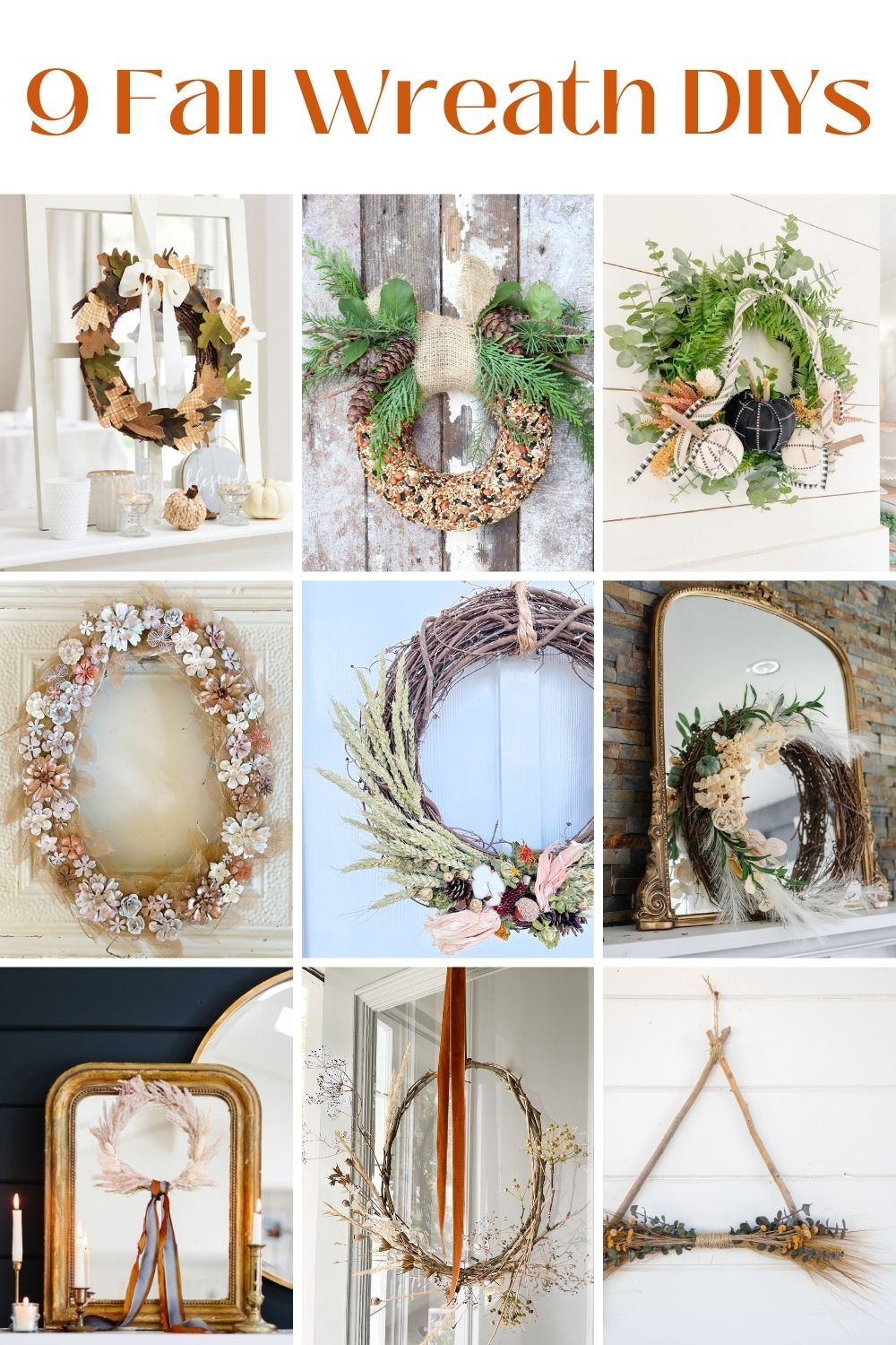 Dollar Store Pumpkin Fall Wreath. Turn $1 pumpkins into beautiful decor by covering them in fabric and adding them to a simple wreath!