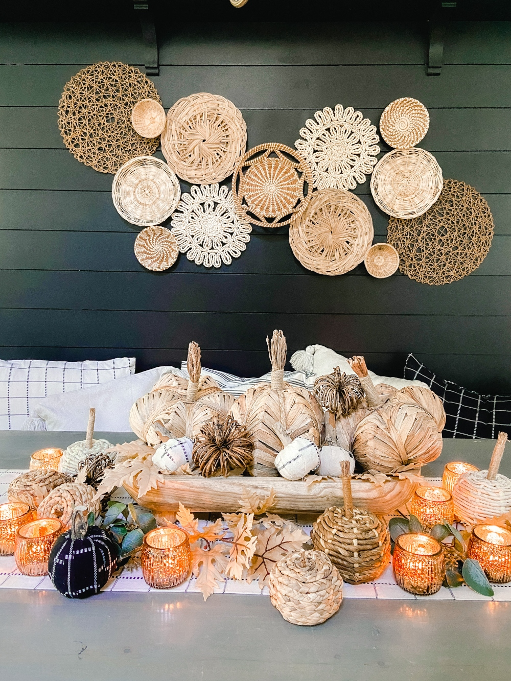 #ad I partnered with #HobbyLobby to create a cozy fall dining nook! With three DIY projects -- a NO-sew table runner, fabric-wrapped pumpkins and a footed fall centerpiece. All Fall Shop items are 40% right now! #HobbyLobbyFinds (link)