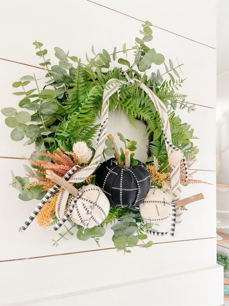Fabric Wrapped Pumpkin Wreath